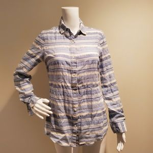 J McLaughlin Cotton Button Down Shirt Blue Striped